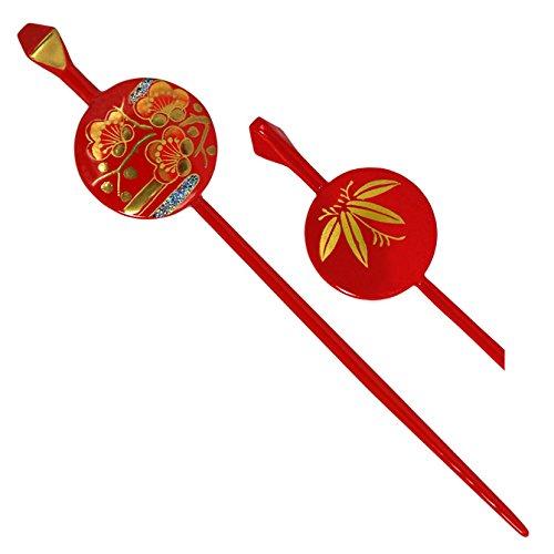 1 Piece of Japanese 6.75'' Geisha Kimono Red and Gold Ume Blossom Flower Flat Kanzashi Hair Ornament Hairpin Stick by YokohamaUSA
