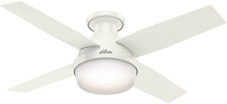 Hunter Dempsey Indoor Low Profile Ceiling Fan with LED Light and Remote  Control, 44