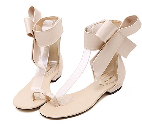 Aisun Womens Stylish Antiskid Hollow Out Split Toe Ring Bowknot Velcro Covered Heels Flat Sandals Shoes Apricot Kjwu4z2K1P