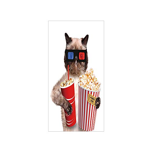 (3D Decorative Film Privacy Window Film No Glue,Movie Theater Decor,Cat with Popcorn and Drink Watching Movie Glasses Entertainment Cinema Decorative,Multicolor,for Home&Office)