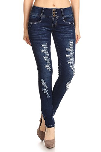 Women's Stretcy Distressed Ripped Skinny Denim Jeans 006-1 Navy 13