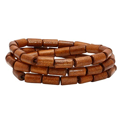 (MILAKOO 6mm Mens Womens Wood Beads Bracelet, Tibetan Beads Buddhist Prayer Mala, Stretchable)