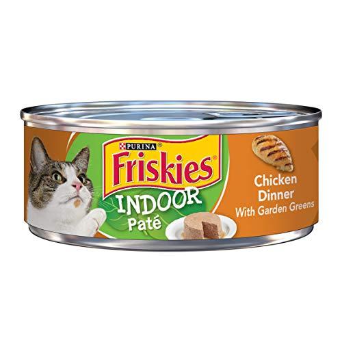 Purina Friskies Indoor Pate Wet Cat Food; Indoor Chicken Dinner With Garden Greens - 5.5 oz. Can (Green Pate)