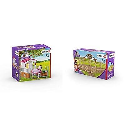 Schleich 42368 - Pferdebox mit Lusitano Stute & 42434 - Pferdekoppel mit Eingangstor: Toys & Games