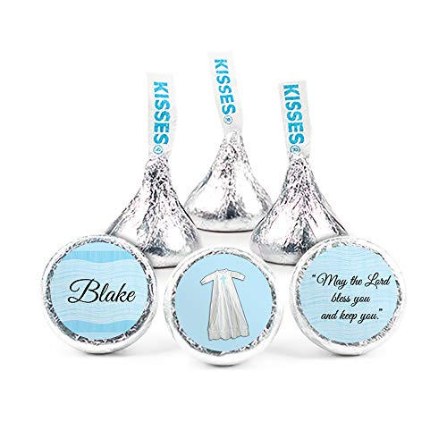 (Personalized Boy Baptism Stickers for Hershey's Kisses Candy (108 Count))