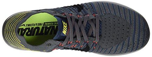 Nike Free Rn Flyknit, Zapatillas Deportivas para Interior para Hombre Gris (Dk Gry/black-sqdrn Bl-brt Citron)