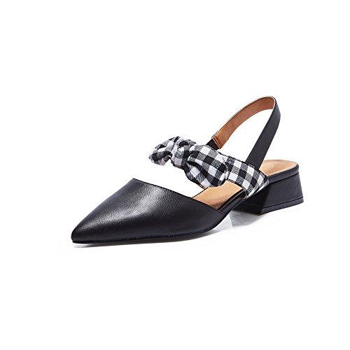 YQQ Zapatos Planos Zapatos De Mujer Sandalias Tacones Altos PU Zapatos Perezosos De Fondo Plano Zapatos De Boca Baja Puntiagudo Medio Talón Moda (Color : Negro, Tamaño : EU37/Uk4.5-5) Negro