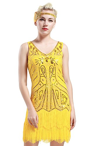 BABEYOND Women's Flapper Dresses 1920s V Neck Beaded Fringed Great Gatsby Dress (Large, Yellow) (Yellow Flapper Dress)
