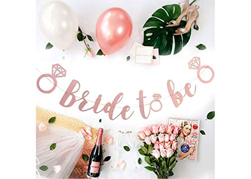 Bachelorette Party Decorations Kit | Bridal Shower Supplies | Bride to Be Sash, Veil, Champagne, Ring Foil Balloon, Rose Gold Balloons, Gold Glitter Banner | Bride to Be