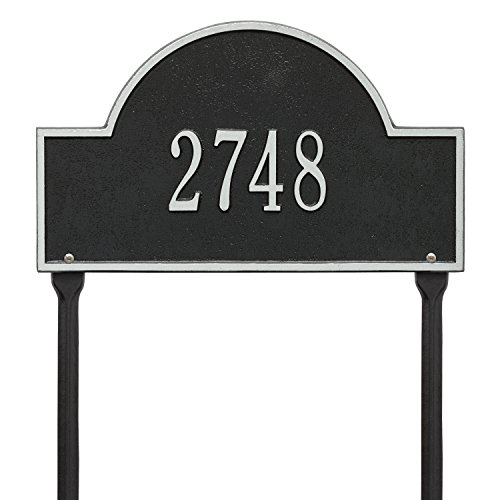 Whitehall Products Arch Marker Standard Black/Silver Lawn 1-Line Address Plaque