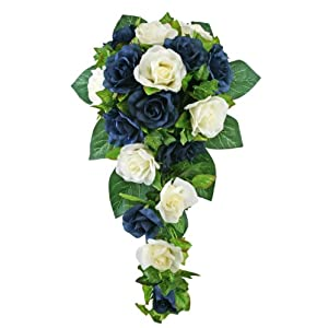 Navy Blue and Ivory Silk Rose Cascade - Silk Bridal Wedding Bouquet 116