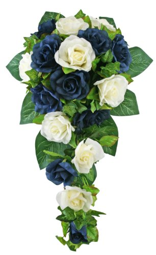 Navy-Blue-and-Ivory-Silk-Rose-Cascade-Silk-Bridal-Wedding-Bouquet