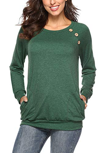 FAVALIVE Womens Casual T-Shirt Tops Round Neck Long Sleeve Tunic Sweatshirts Blouse Buttons Green L