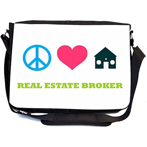Rikki Knight Peace Love Real Estate Broker Design Multifunctional Messenger Bag - School Bag - Laptop Bag - with padded insert for School or Work - Includes Matching Compact Mirror