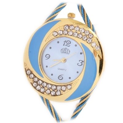 Reloj Diamante Whirlwind (falso) estilo cristal vidrio espejo superficie moda mujer cuarzo relojes azul