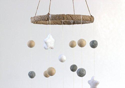 Felt Ball & Star Nursery Ceiling Mobile- Almond, Gray & White