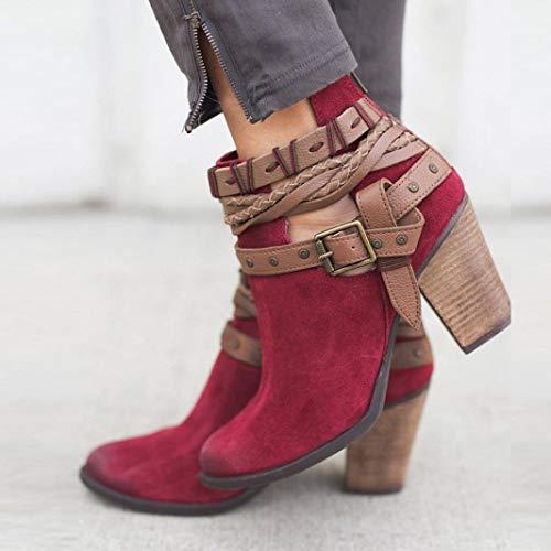 Ferse Boho VJGOAL Niet Damen Party Winter Schnalle Mode Hochzeit Damen Stiefel Stiefelette Stiefel Rot Schuhe Herbst Keile Gewebte 1qn6rwp1I