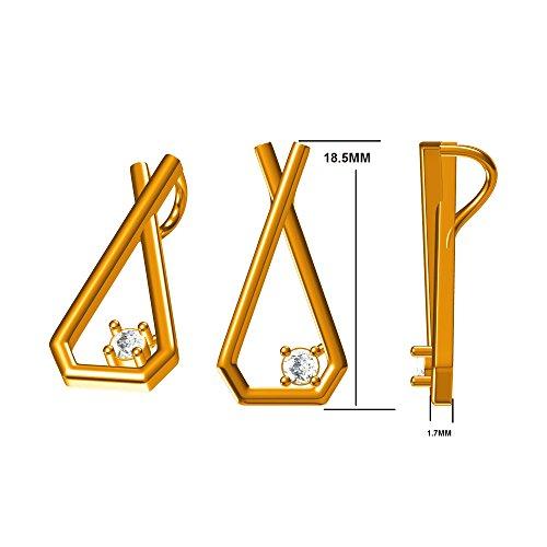 0.20 Ct. 18K Gold Round White Natural Diamond Stud Earrings Pendant Set Jewelry Set (Free Silver Chain)