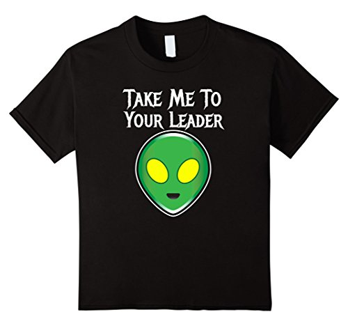[Kids Funny Alien Costume Shirt Take Me To Your Leader 12 Black] (Easy Futuristic Costumes)