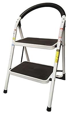 StepUp Heavy Duty Steel Reinforced Folding 2 Step Ladder Stool - 330 lbs Capacity