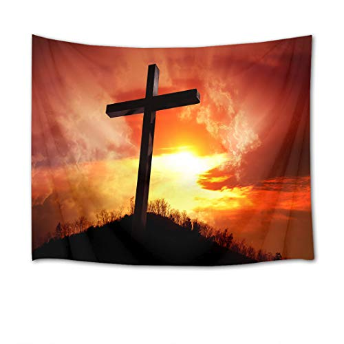 Wall Tapestry Hangings Christian - LB Christian Tapestry Wall Hanging Standing Cross at Sunset 3D Watercolor Tapestry Wall Blanket Wall Art Wall Decor Tapestry for Bedroom Living Room Dorm,80 x 60 Inches