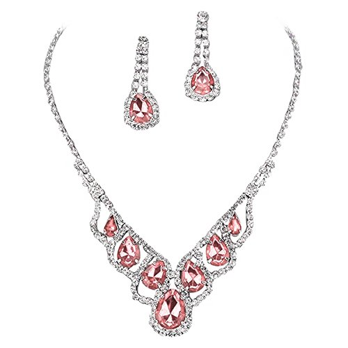 Purplebox Fashion Jewelry Baby Pink Droplets Rhinestone Prom Necklace Set - Jewelry Pink Rhinestone