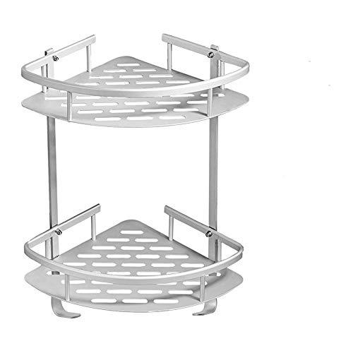 Bathroom Shelves No Drilling, Aluminum 2 Tiers Shower Shelf Bathroom Corner Shelves for Shampoo, Rustproof Adhesive Kitchen Storage Basket with Hanging Hooks