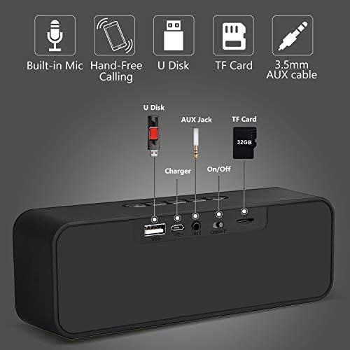Portable Bluetooth Wireless Speakers, Dual Driver with Crystal Clear Sound/Built-in Mic/Life-Waterproof Small Bluetooth Speaker for Android iPhone (Handsfree Calling, TF Card Slot) by HolyHigh (Image #7)