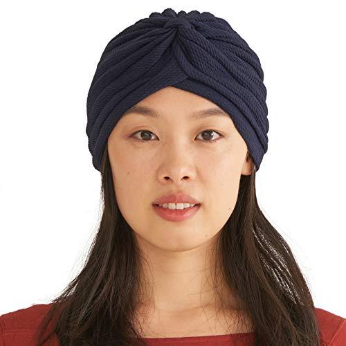CHARM Fortune Teller Fashion Turban for Women - Arabian Boho Twist Wrap Turban, Texture Festival Hats, Indian Costume Boho Navy B]()