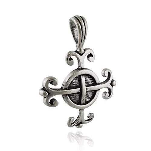 Celtic Wisdom Cross Pendant - 925 Sterling Silver - Amulet Swirl - Jewelry Accessories Key Chain Bracelets Crafting Bracelet Necklace -