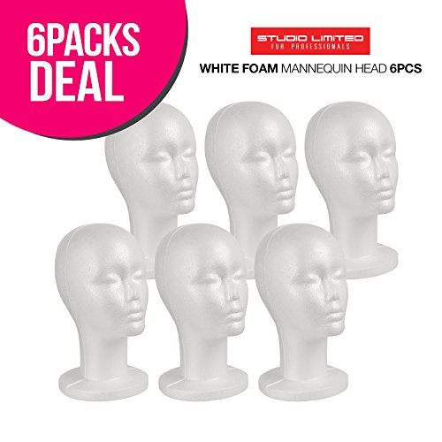 STUDIO LIMITED Styrofoam Mannequin Head, White Foam Wig Head Display (6 PACK)