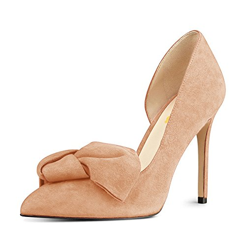 Women US Suede Dress High 4 Chic Pumps 15 Toe Shoes FSJ Pointy D'Orsay Heels with Nude Bowknot Size qFBSaxWd