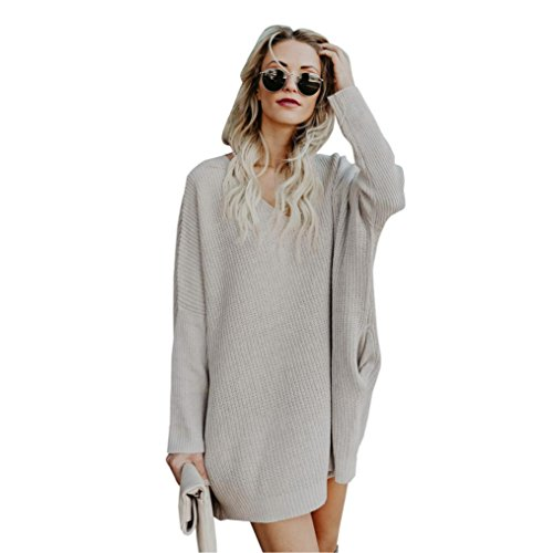 DMZing Women's Winter V-Neck Knitted Loose Thick Sweater Jumper Long Sleeve Pullover Blouse