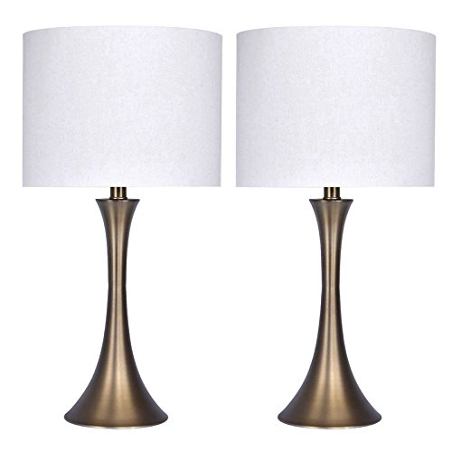 24.25'' Matte Golden Bronze Metal Table Lamp (Set of 2)