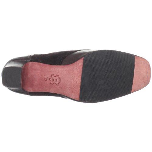 Oh! Chaussures Femme Minerva Oxford Marron Lisse / Daim Noir