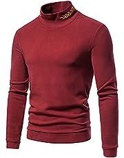 Turtleneck Mens Long Sleeve Thermal Underwear Sweater Mock High-Neck Pullover Slim Fit Base Layer Shirt for Men