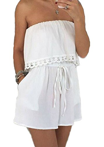 Womens Casual Sexy Strapless Loose Tube Romper Jumpsuit Shorts (S, White)