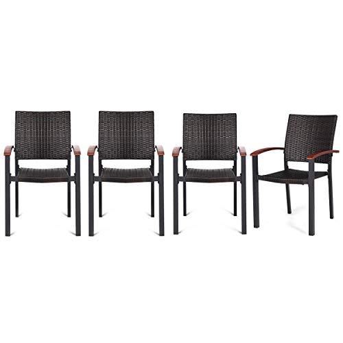 Amazon.com: FDInspiration - 4 sillones de mimbre apilables ...