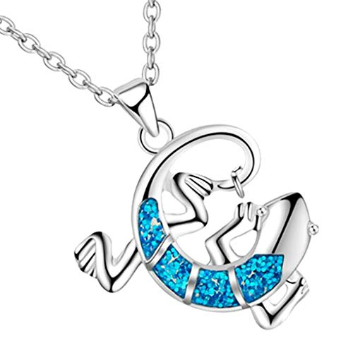 CliPons Lizard Gecko Pendant Necklace Animal Shaped with Red Green Blue Opal Crystal Silver Tone ()
