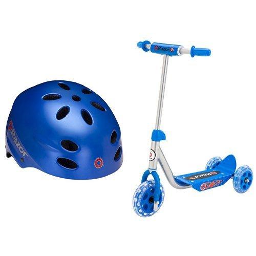 Razor V-17 Child Multi-Sport Helmet, Satin Blue and Razor Jr. Lil' Kick Scooter - Blue Bundle