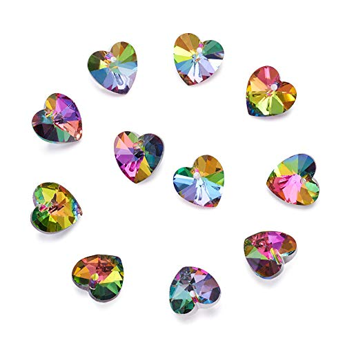 - Craftdady 100PCS Colorful Heart Silver Plated Bottom Electroplated Faceted Glass Pendants Charms Loose Bead for Bracelets Necklace Jewelry Making Findings