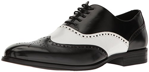 Stacy Adams Men's Stockwell-Wingtip Oxford, Black/Amp/White, 9.5 M US (Black And White Stacy Adams Shoes)