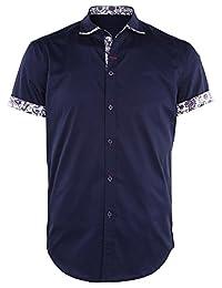 JEETOO Men's Floral Shirts Short Sleeve Print Dress Shirt