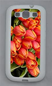 popular cover closed tulip buds TPU White case/cover for Samsung Galaxy S3 I9300