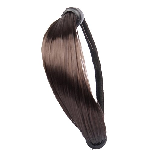 CHUANGLI Girls Synthetic Rubber Braided Wig Headband Hair Ties Women Hairpiece Ponytail Hair Brown (Brown Ponytail Wig)