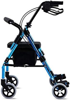 カート・ワゴン ウォーカーウルトラライトトロリーポータブル車椅子スクーター無効ウォーカーウォーカー (Color : Blue, Size : 65*63*75-86cm)
