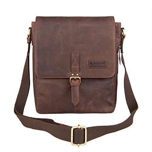 Woodpecker Genuine Cowhide Leather iPad Bag for Mens Crossbody Shoulder bag College Satchel bag