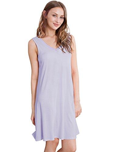NEIWAI Women's Sleep Shirt Bamboo Nightgowns V Neck Nightshirt Taro Purple 3X