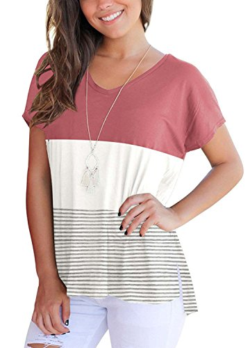Slit Tee V-neck - MOLEERE Womens Color Block Tee Shirt Short Sleeve V Neck Side Slit Blouse Tops S