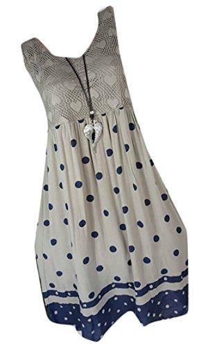 Beach Print Dot Swing Women's Lace Gery Sleeveless Polka Jaycargogo Casual Dress ITUwxt8